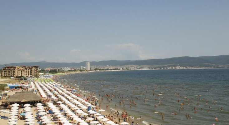 The beach of Sunny beach, Bulgaria