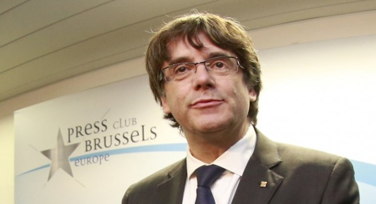 epa06299418 Catalonian regional President Carles Puigdemont attends at a press conference at Press club in Brussels, Belgium, 30 October 2017. Catalonian regional President Carles Puigdemont was dismissed from the post after Spanish Government implemented the Spanish Constitution's article 155 in response to the Catalan Parliament's vote in favor of declaring independence. On 30 October Spanish Attorney-General's office has filed a complaint against dismissed Catalonian regional President, Carles Puigdemont, and his Cabinet for the alleged offenses of rebellion, sedition and embezzlement before Audiencia Nacional Court.  EPA/OLIVIER HOSLET
