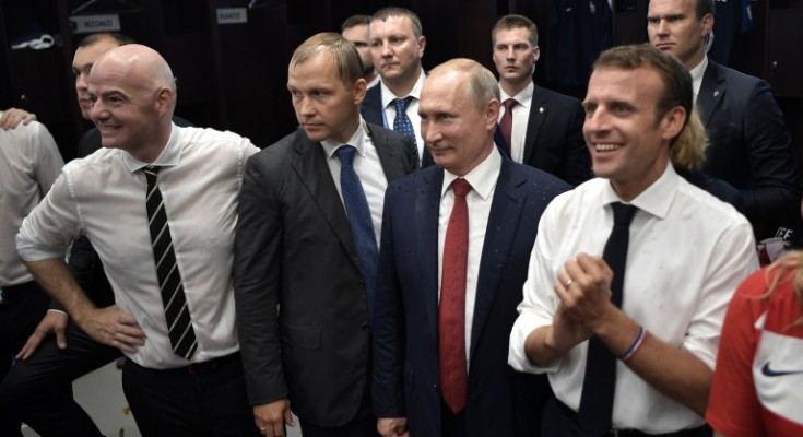 epa06892027 FIFA President Gianni Infantino (L), Russian President Vladimir Putin (2-R) and French President Emmanuel Macron  (R) congratulate French team after the FIFA World Cup 2018 final between France and Croatia in Moscow, Russia, 15 July 2018.   (RESTRICTIONS APPLY: Editorial Use Only, not used in association with any commercial entity - Images must not be used in any form of alert service or push service of any kind including via mobile alert services, downloads to mobile devices or MMS messaging - Images must appear as still images and must not emulate match action video footage - No alteration is made to, and no text or image is superimposed over, any published image which: (a) intentionally obscures or removes a sponsor identification image; or (b) adds or overlays the commercial identification of any third party which is not officially associated with the FIFA World Cup)  EPA/ALEXEI NIKOLSKY / SPUTNIK  / KREMLIN POOL / POOL MANDATORY CREDIT