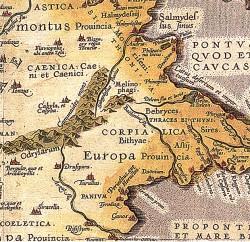 отсечка от карта на Абр. Ортелиус