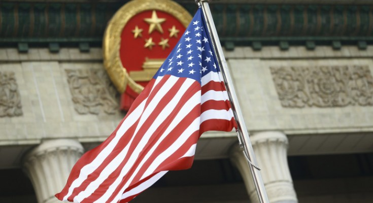 BEIJING, CHINA - NOVEMBER 9:  The U.S. flag flies at a welcoming ceremony between Chinese President Xi Jinping and U.S. President Donald Trump November 9, 2017 in Beijing, China. Trump is on a 10-day trip to Asia.  (Photo by Thomas Peter-Pool/Getty Images)