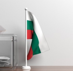 Glass ballot box and a small Bulgaria flag. 3d illustration