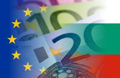 bulgaria and eu flag with euro banknotes