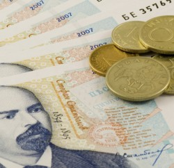 Bulgarian currency on white background - closeup